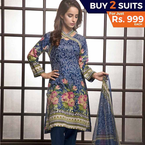 Rangreza Printed Lawn 3 Piece Un-Stitched Suit Vol-1 - 8 B - test-store-for-chase-value