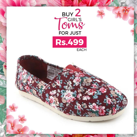 Girls Printed Toms - Purple