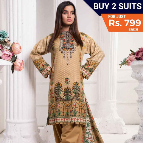 Sahil Printed Lawn 3 Piece Un-Stitched Suit Vol 7 - ZS 03 - test-store-for-chase-value