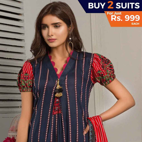 Rangreza Printed Lawn 3 Piece Un-Stitched Suit Vol-07 ZS - 03 - test-store-for-chase-value