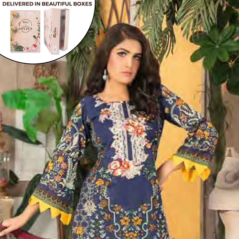 Gulzeb Embroidered Lawn Un-Stitched Suit - 11