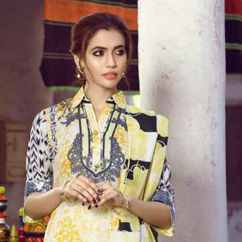 Monsoon Printed Lawn 3 Piece Un-Stitched Suit Vol 1 - 8 A