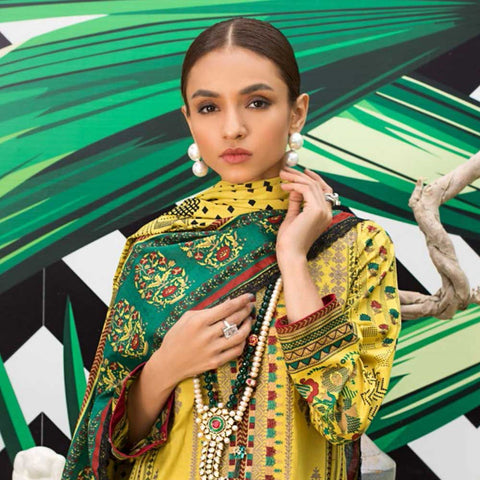 Signature Icon Printed Embroidered Lawn 3 Piece Un-Stitched Suit - 8 A