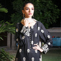 Kalyan Black & White Embroidered Shifli 3 Piece Un-Stitched Suit - 08