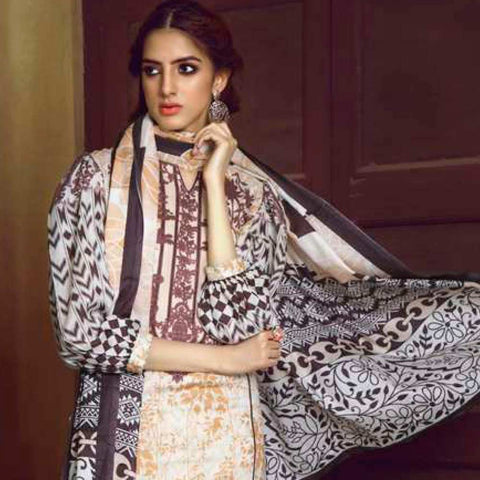 Monsoon Printed Lawn 3 Piece Un-Stitched Suit Vol 1 - 8 B