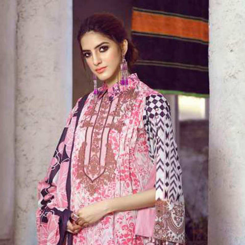 Monsoon Printed Lawn 3 Piece Un-Stitched Suit Vol 1 - 8 C