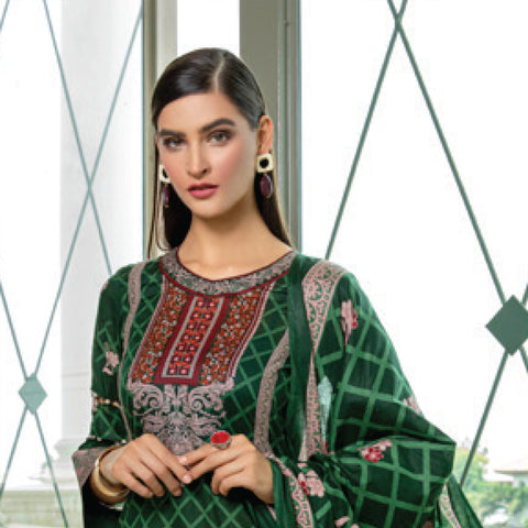 Monsoon Printed Lawn 3 Piece Un-Stitched Suit Vol 2 - 8 C