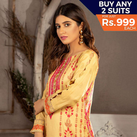Rangreza Printed Lawn 3 Piece Un-Stitched Suit Vol 1 - 09