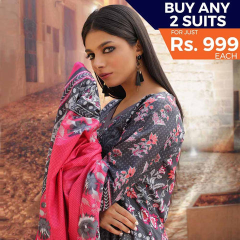 Rangreza Printed Cotton 3 Piece Un-Stitched Suit - 09