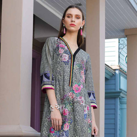 Salina Digital Printed Cotton Satin 3 Piece Un-Stitched Suit - 09