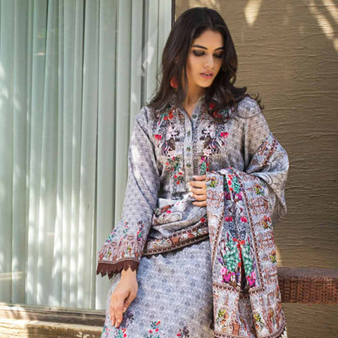 Digital Printed Khaddar 3 Piece Un-Stitched Suit - 09