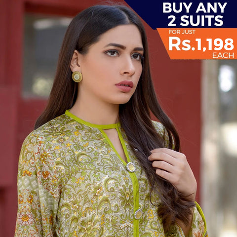 Three Star Printed Lawn 3 Piece Un-Stitched Suit Vol 2 - 9 A