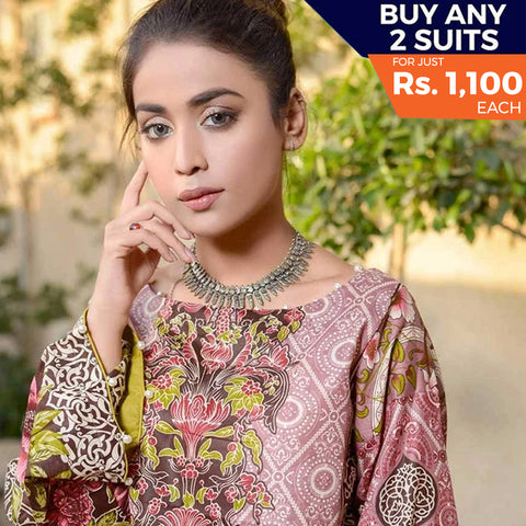 Libas Printed Lawn 3 Piece Un-Stitched Suit Vol 1 - 9 A