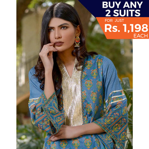 Three Star Printed Lawn 3 Piece Un-Stitched Suit Vol 2 - 1 B