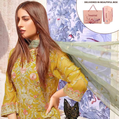 Exclusively Yours Heavy Embroidered Chiffon 3 Piece Un-Stitched Suit - 4635