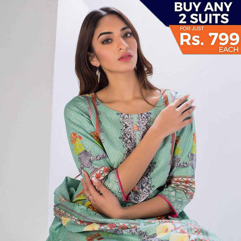 Sahil Printed Cotton 3 Piece Un-Stitched Suit Vol 3 - ZS 09