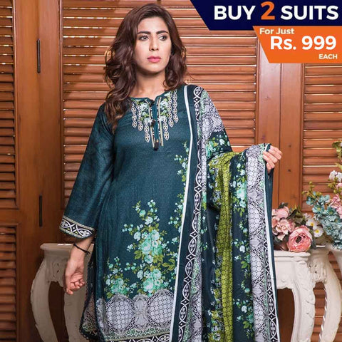 Rangreza Printed Lawn 3 Piece Un-Stitched Suit Vol-09 - ZS 08 - test-store-for-chase-value