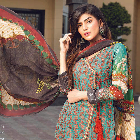 Masumery Embroidered Lawn 3 Piece Un-Stitched Suit Vol 17 - 09