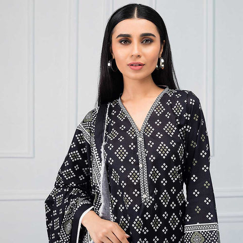 Salina Black & White Printed Lawn 3 Piece Un-Stitched Suit - 09