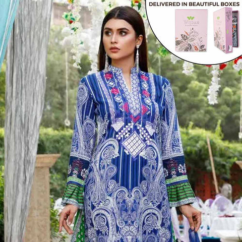 Zobia Noor Embroidered Lawn 3 Piece Un-Stitched Suit - ZN-04A