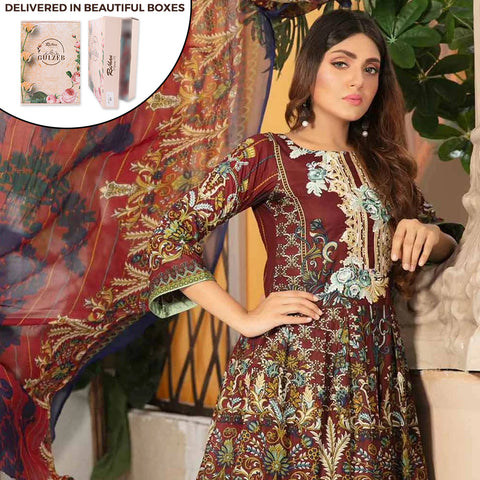 Gulzeb Embroidered Lawn Un-Stitched Suit - 5
