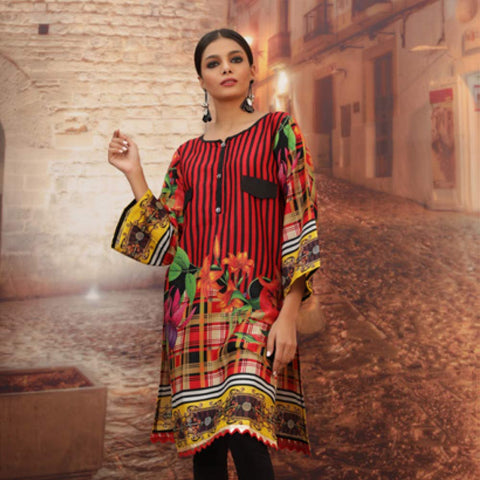 Chase Value Centre Printed Khaddar Un-Stitched Kurti Vol 3 - 09