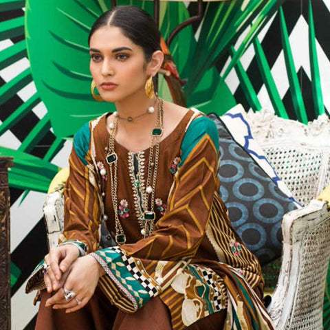 Signature Icon Printed Embroidered Lawn 3 Piece Un-Stitched Suit - 9 A