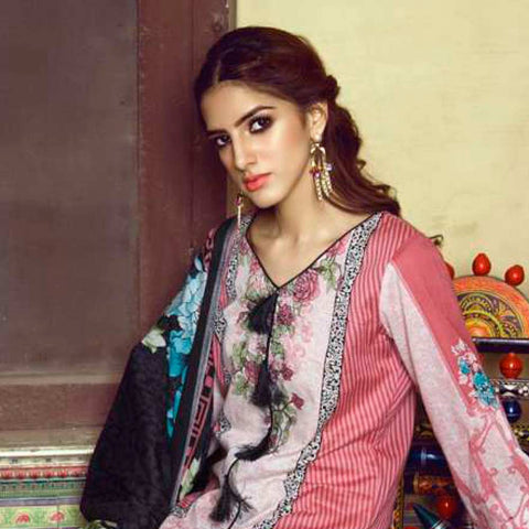 Monsoon Printed Lawn 3 Piece Un-Stitched Suit Vol 1 - 9 B