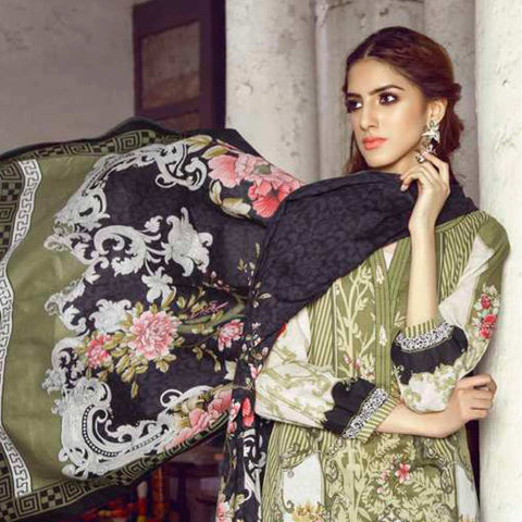 Monsoon Printed Lawn 3 Piece Un-Stitched Suit Vol 1 - 9 C