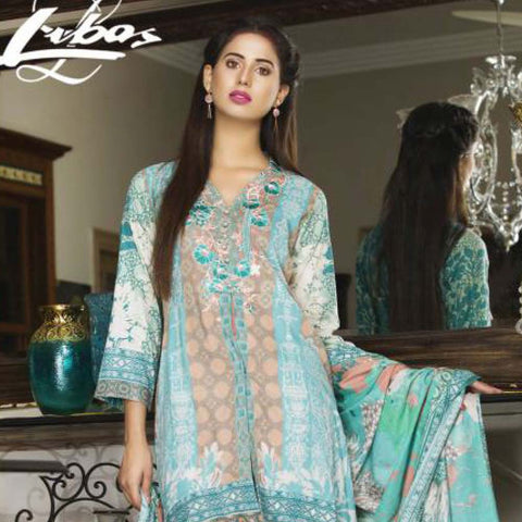 Libas Embroidered Printed Lawn 3 Piece Un-Stitched Suit Vol 1 - A1