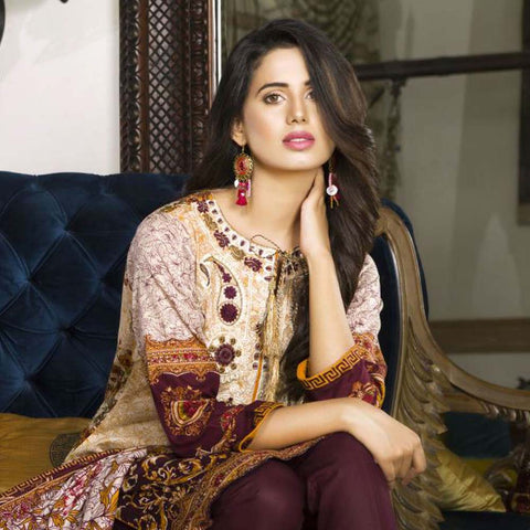 Libas Embroidered Printed Lawn 3 Piece Un-Stitched Suit Vol 1 - A7