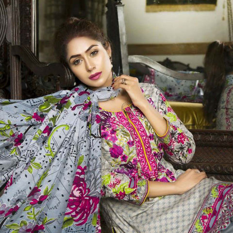 Libas Embroidered Printed Lawn 3 Piece Un-Stitched Suit Vol 1 - A9