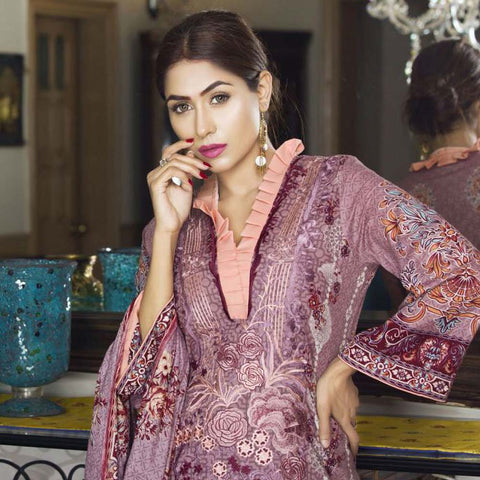 Libas Embroidered Printed Lawn 3 Piece Un-Stitched Suit Vol 1 - A10