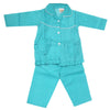 Girls Full Sleeves Night Suit - Sea Green