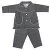 Girls Full Sleeves Night Suit - Black