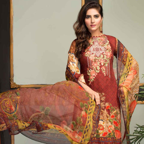 Ethereal Viscose Jacquard Embroidered 3 Piece Un-Stitched Suit - AY-301