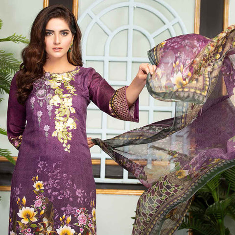 Ethereal Viscose Jacquard Embroidered 3 Piece Un-Stitched Suit - AY-302