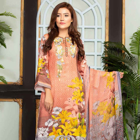 Ethereal Viscose Jacquard Embroidered 3 Piece Un-Stitched Suit - AY-303