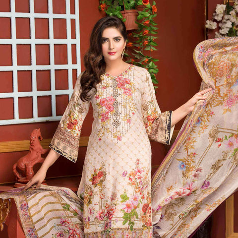 Ethereal Viscose Jacquard Embroidered 3 Piece Un-Stitched Suit - AY-304