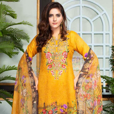 Ethereal Viscose Jacquard Embroidered 3 Piece Un-Stitched Suit - AY-305
