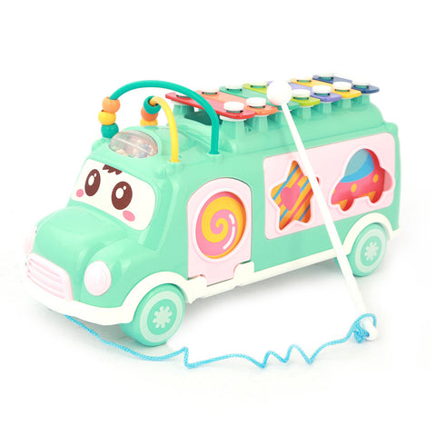 Happy Colorful Bus With Musical Instrument - Sea Green