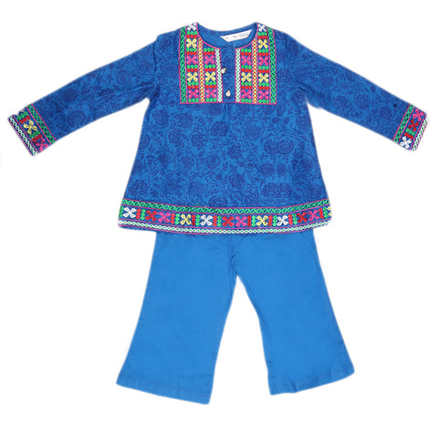 Girls Embroidered Cotton Suit 2 Pcs - Blue