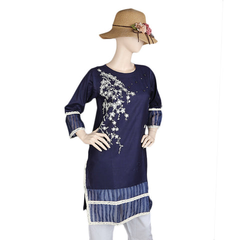 Women's Embroidered Kurti - Navy Blue