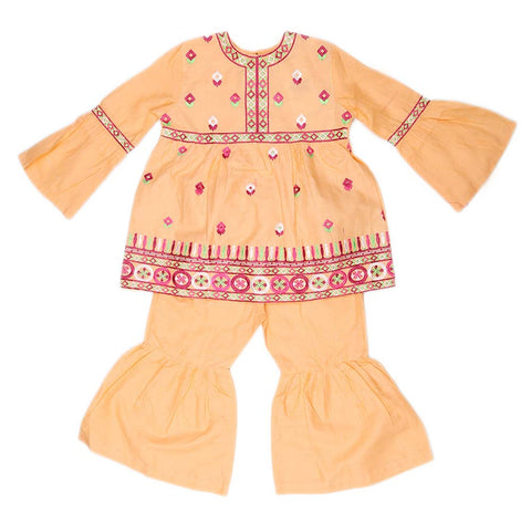 Girls Embroidered Cotton Suit 2 Pcs - Peach