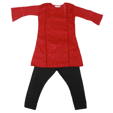 Girls Embroidered Cotton Suit 2 Pcs - Maroon