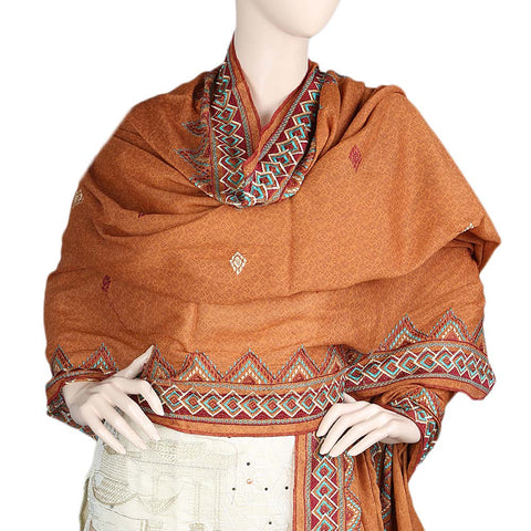 Women's Embroidered Border Chadar - Copper