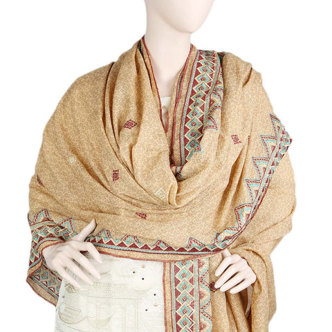 Women's Embroidered Border Chadar - Brown