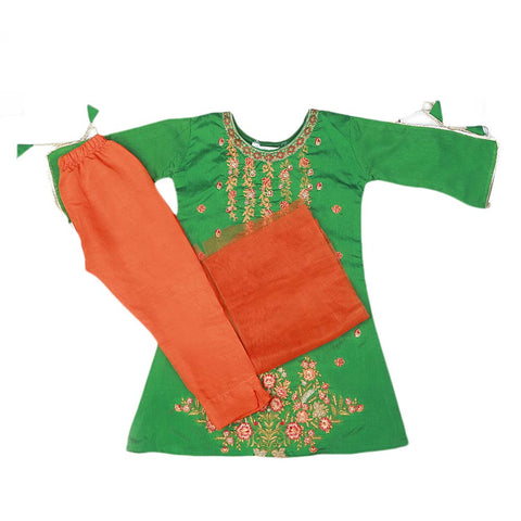 Girls Embroidered Masuri Suit 3 Pcs - Green