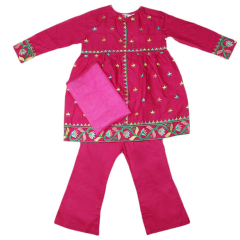 Girls Embroidered Cotton Suit 3 Pcs - Dark Pink