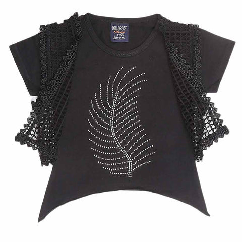 Girls Half Sleeve Fancy T-Shirt 2 Pcs - Black